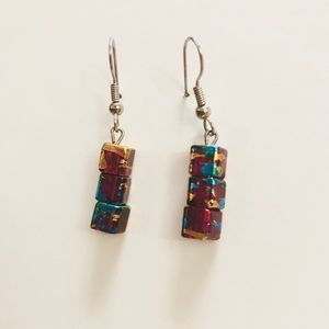 Marbled Square-Bead Earrings